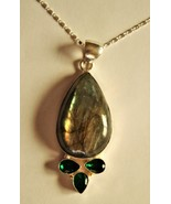 Spectacular - Labradorite and Prasiolite Sterling Silver Pendant, with S... - $58.00