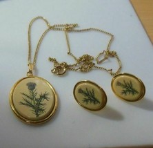 Signed Barlow Floral Pendant Necklace & Matching Earrings - $26.72
