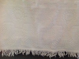 Vintage Chenille Bedspread White Fringed Cottage Chic or Cutter Full Size - $34.95