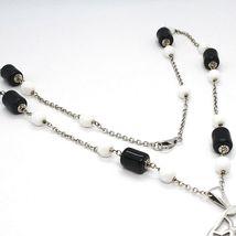 Halskette Silber 925, Onyx Schwarz Röhre, Medaillon Sterne und Kreise Anhänger image 4