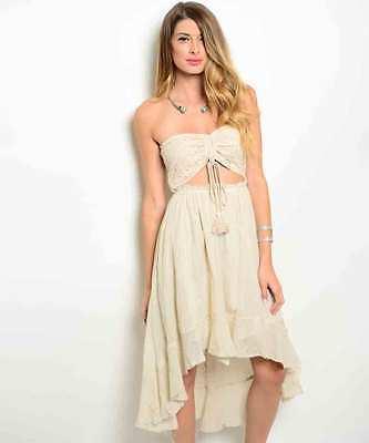 Sexy Juniors Strapless Cream Party Cruise Club Beach Hi-Lo Dress, 100% Cotton