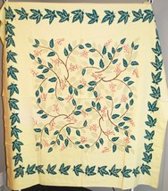 "Vintage Small Fabric Tablecloth - Leaves, Vine, Flowers 50"" Square - $33.66"