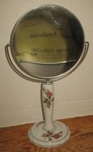 Vtg White Porcelain Pink Roses 2-Sided Magnifying Vanity Dresser Stand M... - $28.71