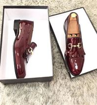Men's Handmade Patent leather shoes, tassel shoes, formal shoes, party shoes - $144.99+
