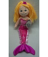 """The Petting Zoo VERY CUTE BLONDE AND PINK MERMAID W/ DOLPHIN 17"""" STUFFED... - $18.32"""
