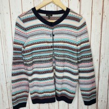 Talbots Womens Lambs Soft Wool Multicolored Cardigan Sweater Button Size... - $14.85