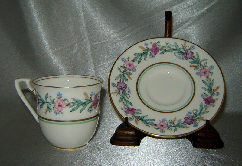 ROYAL WORCESTER Bone China ELYSIAN Floral Demitasse Cup & Saucer Set (England)