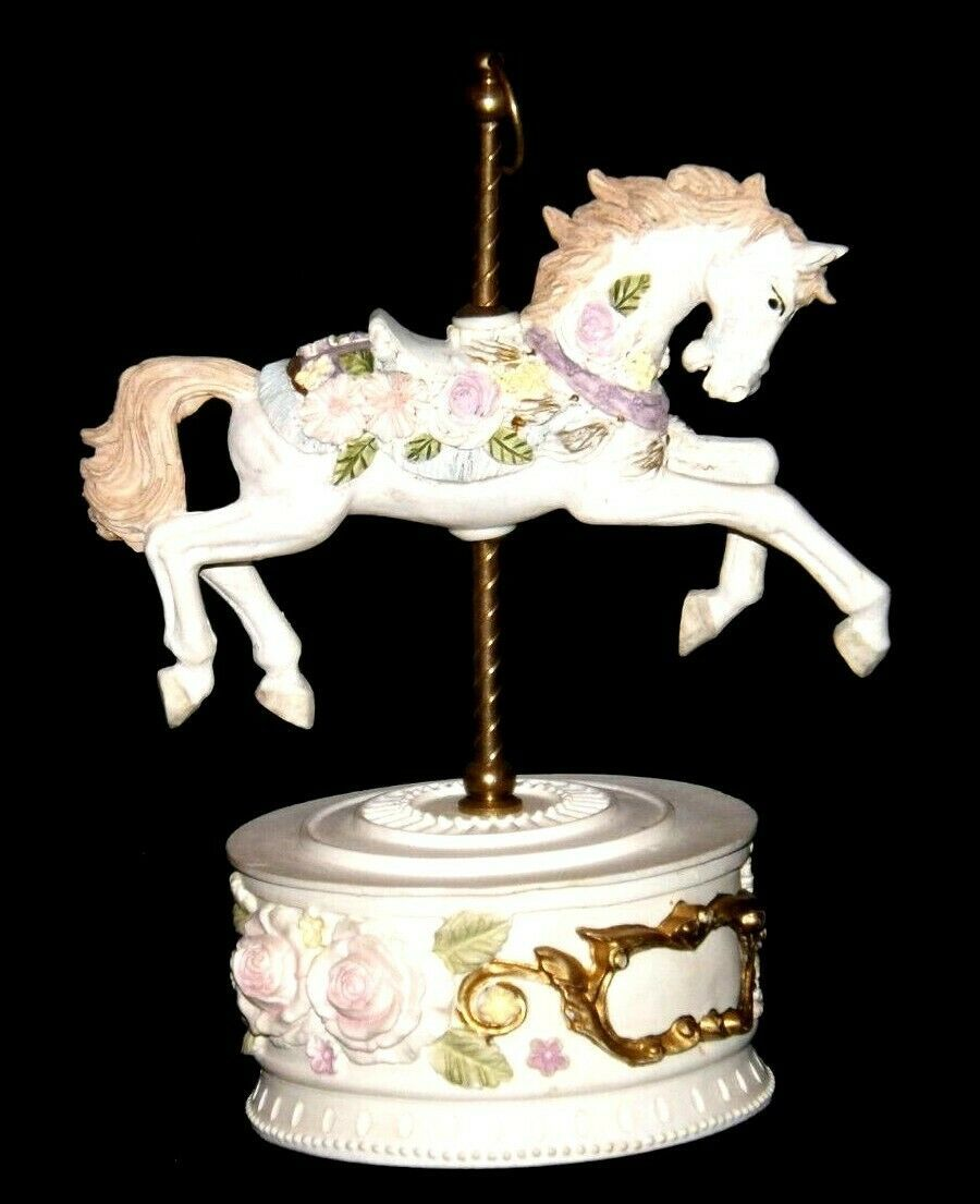 Horse Carousel Music Box (1980's) Works AA18-1631 Vintage