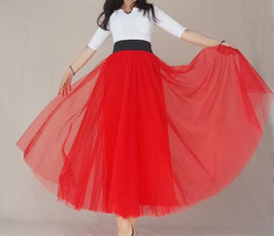 A Line RED Tulle Skirt with Pockets Women High Waist Tulle Skirt Red Party Skirt image 13