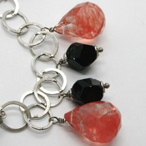 925 STERLING SILVER BRACELET WITH BLACK ONYX NUGGETS AND FACETED RED QUARTZ DROP image 2