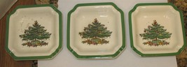 3 Vintage Spode Christmas Tree Porcelain S3324H Ashtrays Made in England  - $25.01 CAD
