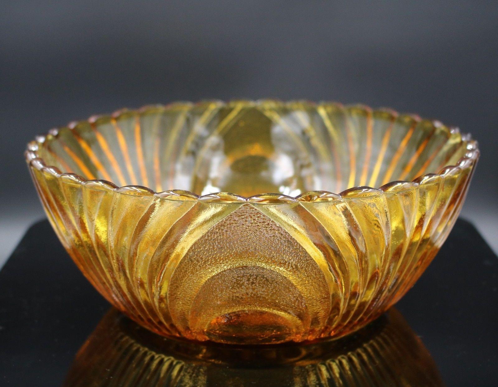 Vintage Brockway Glass Nouveau Amber Gold Fruit Dip Bowl Mid Century Glassware