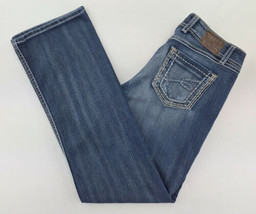 Buckle Womens Jeans 31x31 1/2 Stretch Low Rise Boot Cut Embroidered Blue... - $24.13