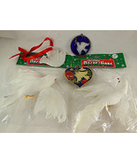 Vintage Christmas Dove Ornaments porcelain feathers stained glass & meta... - $14.84