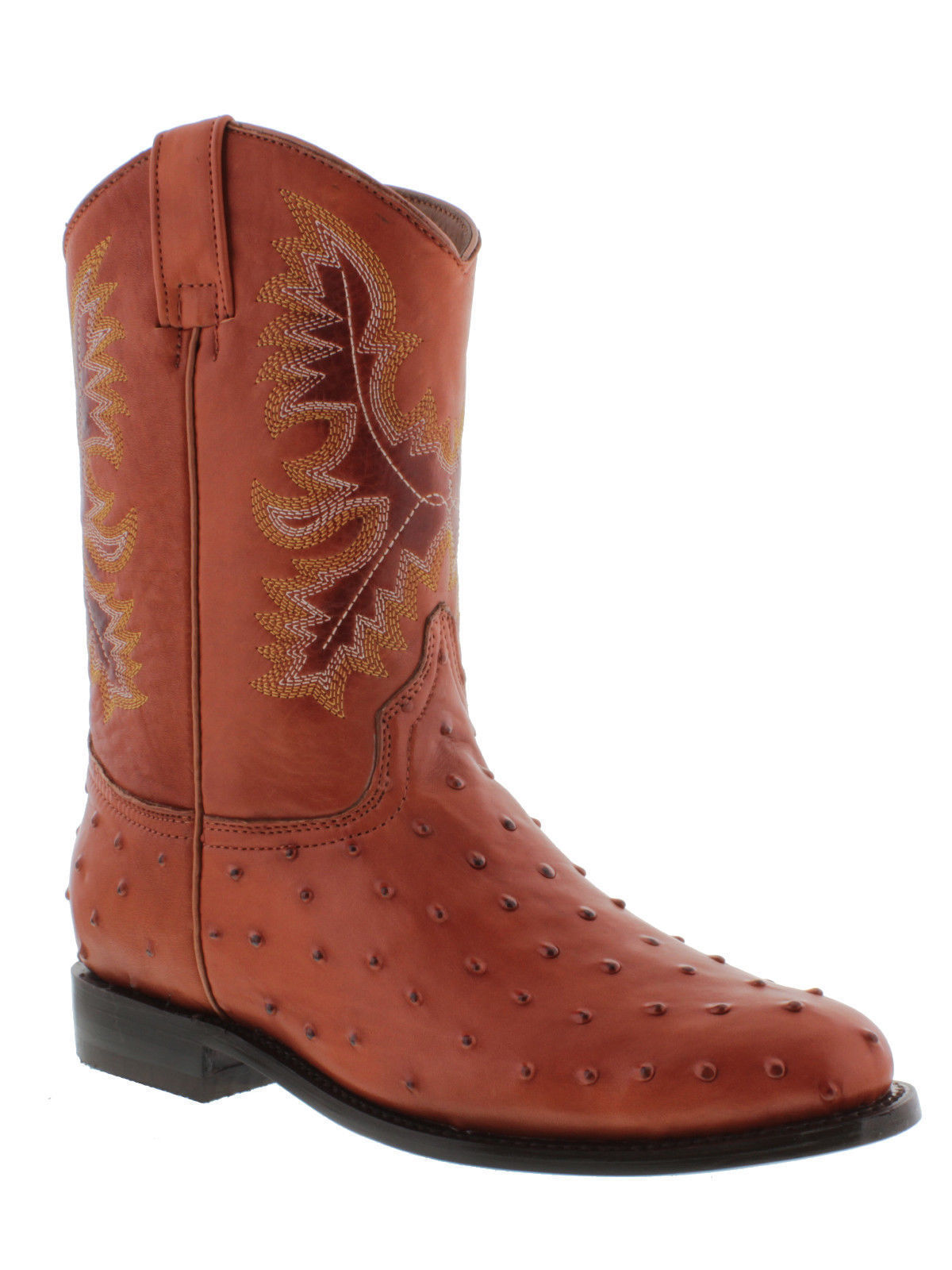 Primary image for mens ostrich cognac brown crocodile western leather cowboy rodeo boots roper