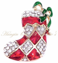 Christmas Stocking Pin Brooch Clear Crystal Argyle Style Silvertone Holiday - $21.99