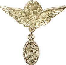 14K Gold Filled Baby Badge with O/L of Czestochowa Charm Pin 1 1/8 X 1 1/8 inch - $101.33