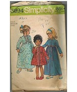 5994 Vintage Simplicity Sewing Pattern Little Girl Robe Nightgown 2 leng... - $5.52