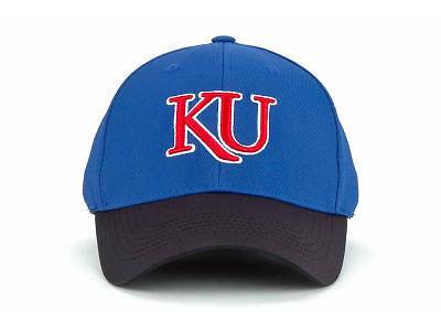 KANSAS JAYHAWKS  - TOW 2 TONE FOCUS NCAA FLEX FIT CAP HAT - SIZES S/M & L/XL