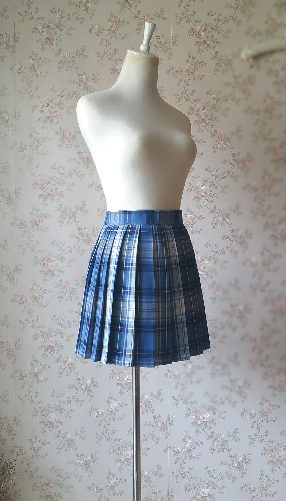 BLUE PLAID Skirt Women Girl Pleated Plaid Skirt School Style Pleated Plaid Skirt