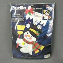 "Bucilla Jolly Snowman Stocking Kit 1997 Felt Applique 18"" Diagonal 83655 - $24.14"