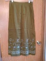 F97 Ann Taylor Womans 4 Golden Brown Long Embroidered Skirt 100% Linen - $9.75