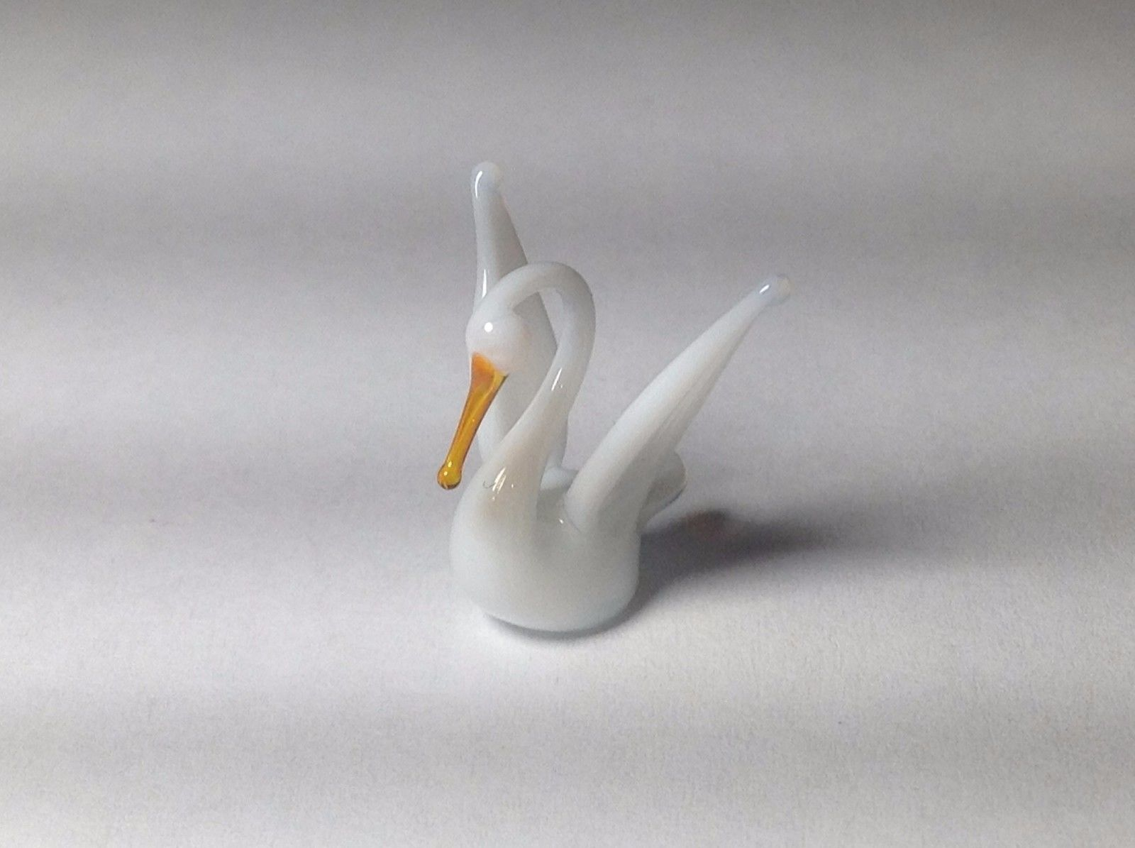 Miniature Glass white swan flapping wings Handmade Blown Glass Made USA