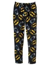 Batman Mens Sleep Pants Size XL Fleece Lounge Black Pajamas One Button Fly - $9.88