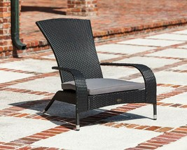 Modern Black Coconino Wicker Adirondack Chair Home Garden Patio Elegant ... - $139.67