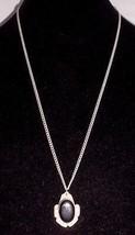 VTG Silver Tone Art Deco Style Black Plastic Cabochon Necklace & Bracele... - $19.80