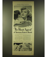 1944 Jergens Lotion Ad - The Heart Appeal of Susanna Foster's Hands - $14.99