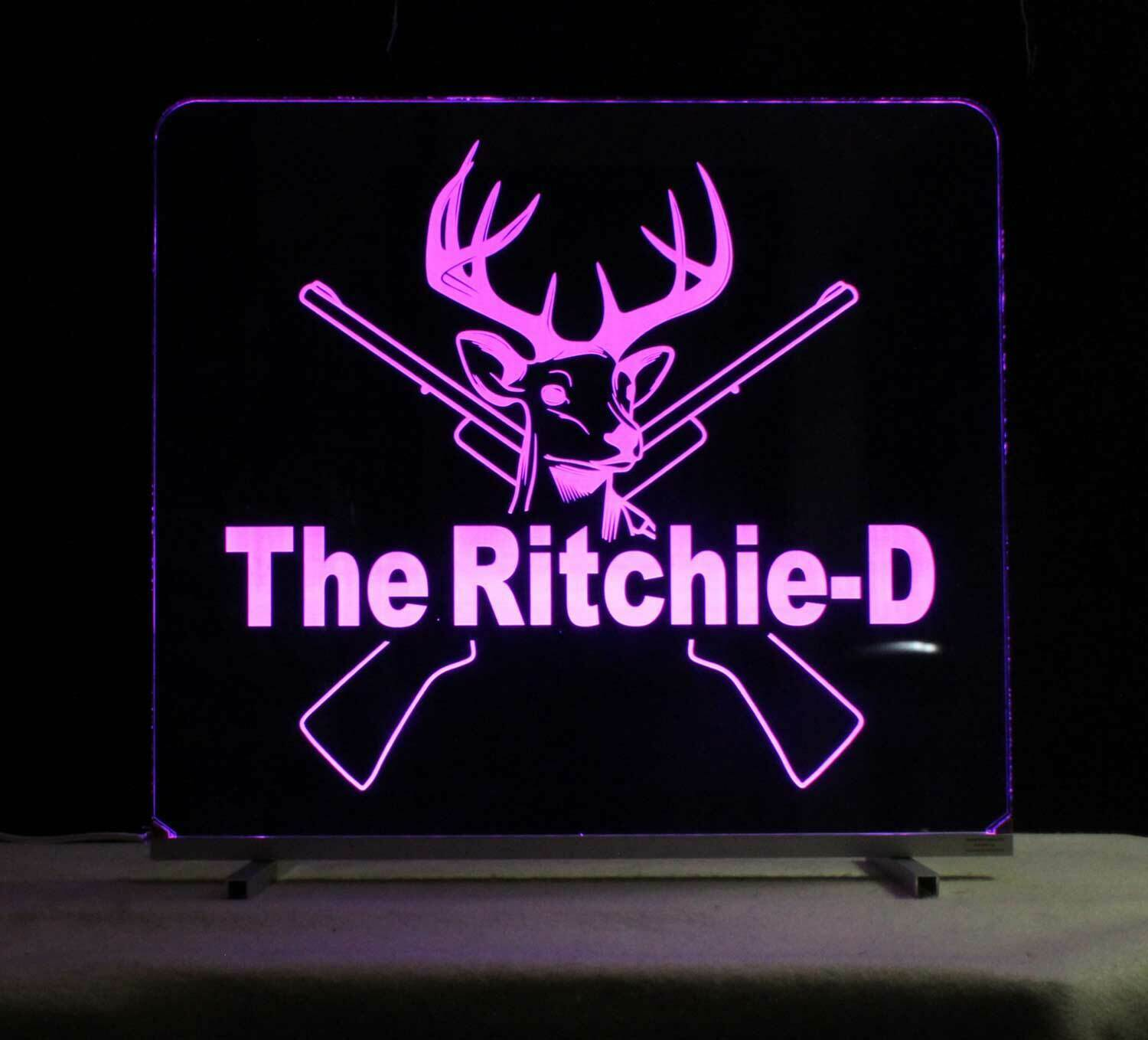 Personalized Deer Rifel Lighted Man Cave Sign