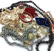 Vtg Costume Jewelry Lot Boho MOD Mixed Materials 20+ pcs metal hearts fl... - $29.69