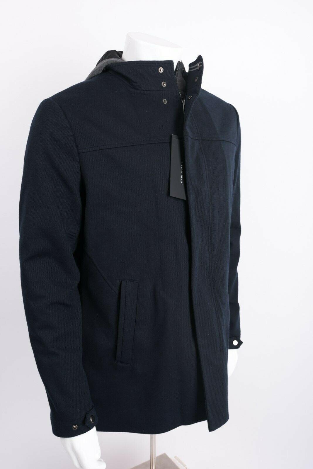 Zara Man Mens Jacket Coat Blazer Removeable Interior Navy Blue Gray Hooded NWT image 6