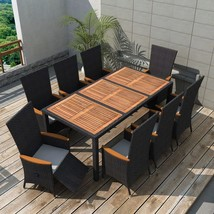 vidaXL Outdoor Dining Set 17 Piece Poly Rattan Wicker Black Garden Table... - $726.99