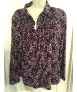 CHARTER CLUB petite purple Floral nylon Button Blouse Shirt size P/L RUF... - $10.99