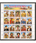 Legends of the West, Sheet of 29 cent stamps, 20 stamps total - $8.50