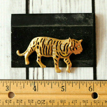 new vintage large rhinestone tiger pin brooch gold big cat - $24.74