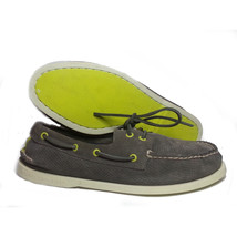 SPERRY Top-Sider Leather Boat Shoes Size 8 M Gray 2-Eyelets Perforated Surface  - $77.55