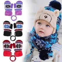 Elastic Warm Gloves Full Finger Cute Cartoon Mitten Cloth Knitted Stretc... - $107,20 MXN
