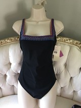 GOTTEX Multicolored/Black 1 Piece Tank Style Swimsuit Sz 10 NWT - $55.00