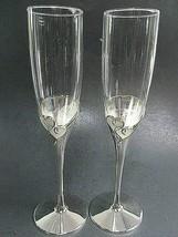 2 LENOX TRUE LOVE Crystal Silverplate Heart Wedding Toasting Champagne F... - $42.74