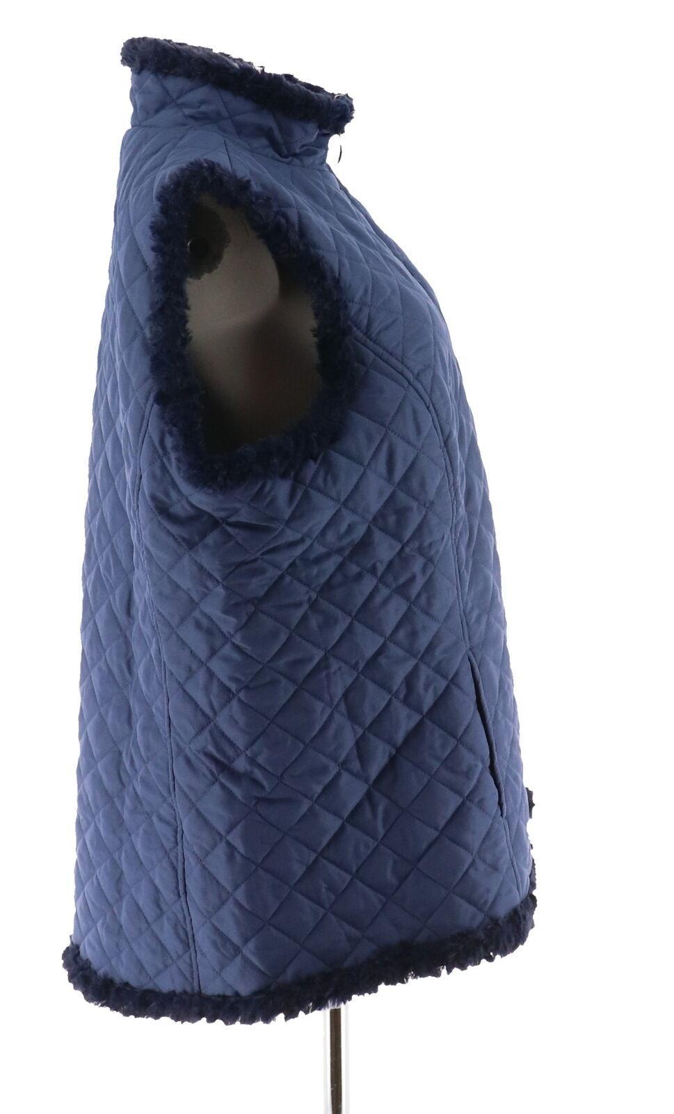 Denim & Co Reversible Zip Front Textured Quilted Vest Dark Indigo M NEW A282681 image 4