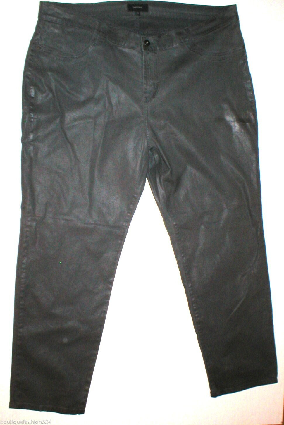 NWT New Womens 22 James Jeans Icon Plus Size Coated Legging Leather Dark Gray