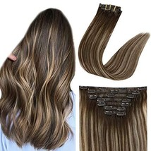 Easyouth Human Hair Extensions Clip in Balayage Seamless Color Brown Fading to H