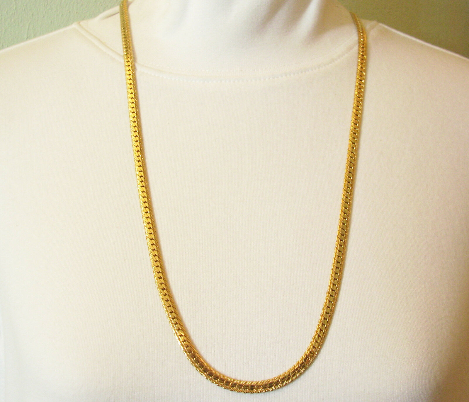 """NAPIER Gold Plated Fancy Herringbone Chain Necklace Vintage 30"""" Classic"""