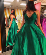 Sexy V-Neck Emerald Green Long Prom Dresses  Spagheeti Straps Women Part... - $155.00