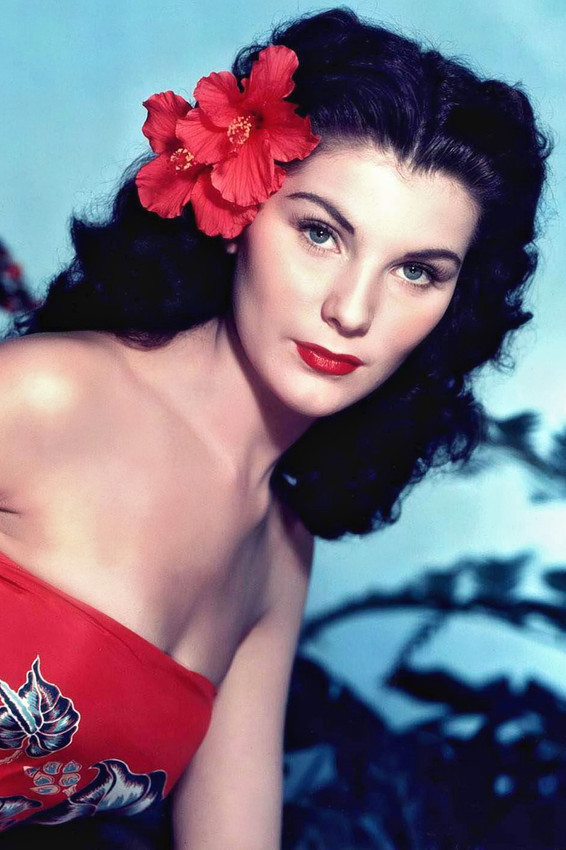 Primary image for Debra Paget in Bird of Paradise bare shouldered in tropical dress red flower 24x