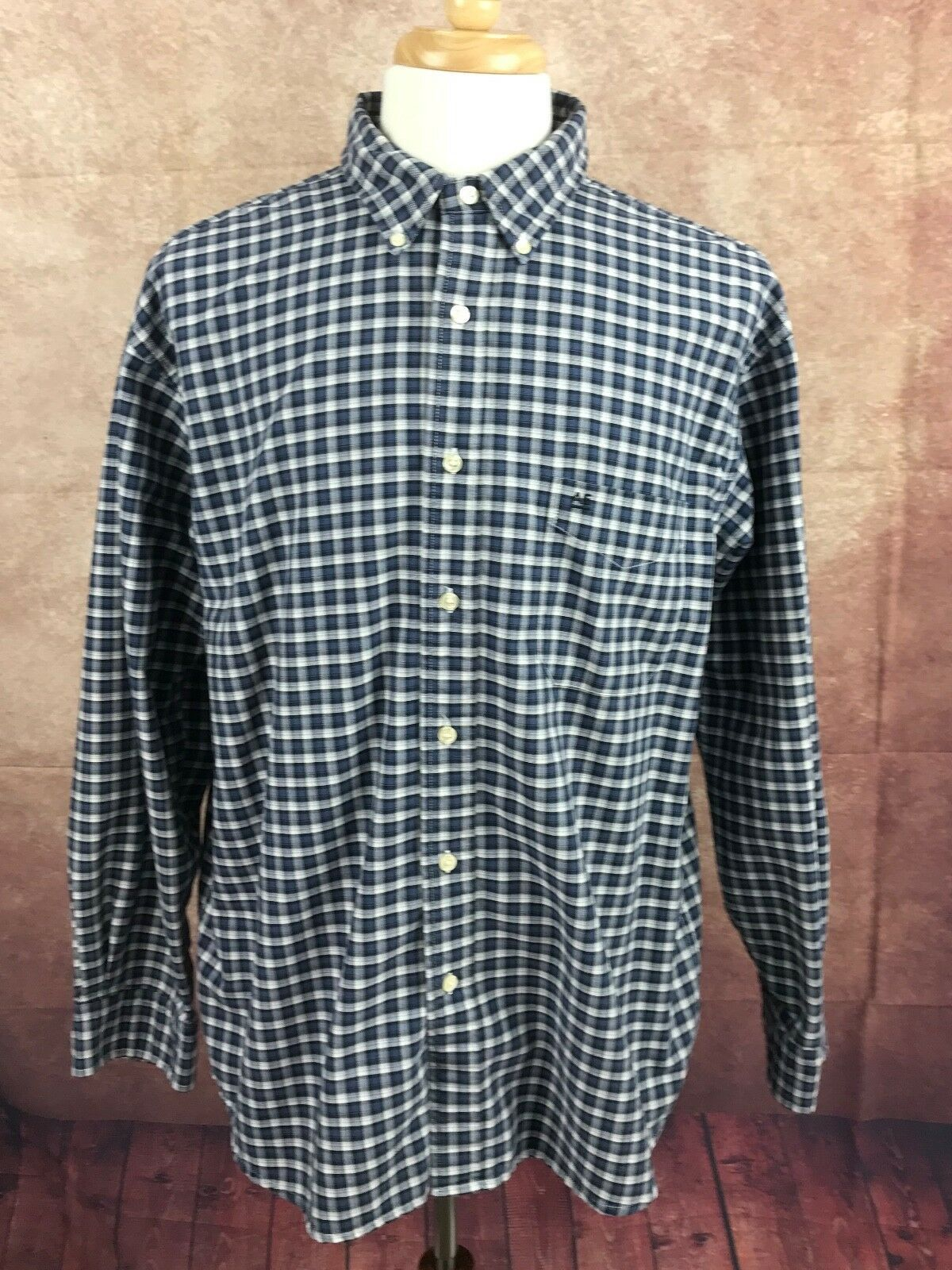 American Eagle Outfitters Men's Rugged Oxford Navy Blue White Check Shirt Large