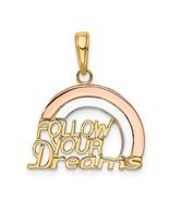 """14K Tri Color Gold """"Follow Your Dreams"""" Pendant - $147.99"""